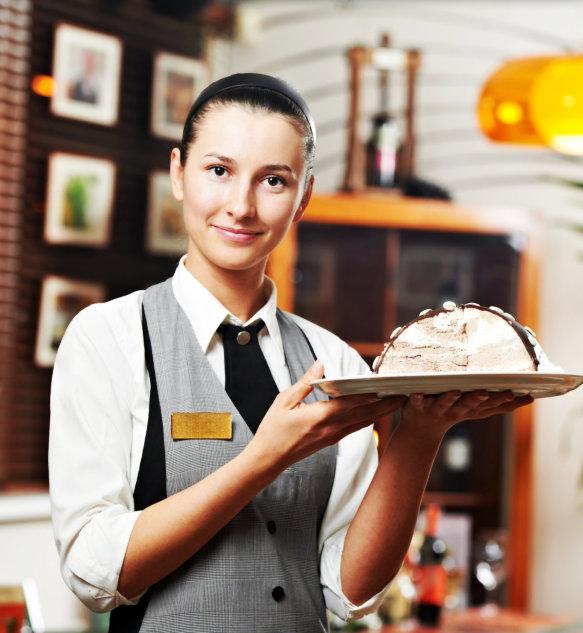 waitress serving customer order